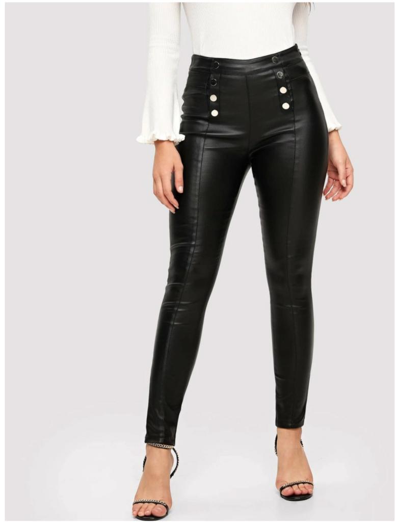 Button Faux Leather Pants