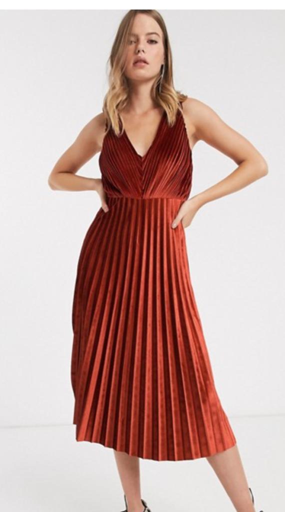 Rust Pleated Dress