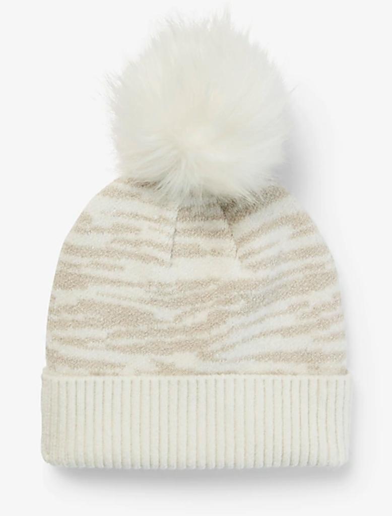 white & biege hat