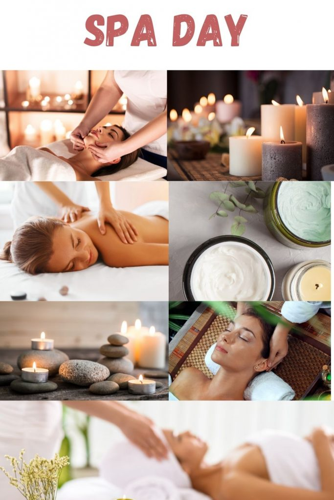 Spa Day. Face Massage. Candles. Back Massage. Deep Conditioners For Damaged Color Treated Hair. Meditation. Scalp Massage.