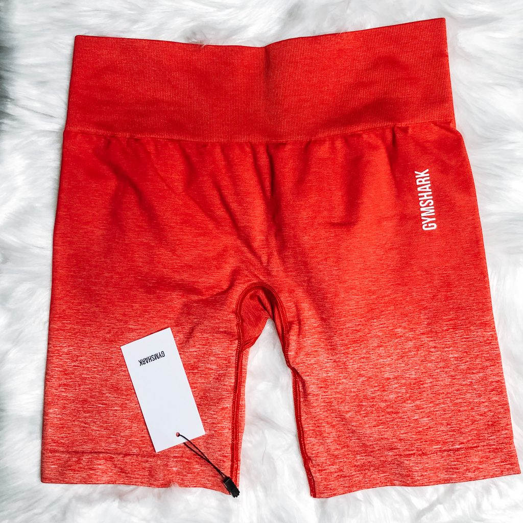 SUMMER FABLETICS AND GYMSHARK HAUL. Red Ombre Gymshark Shorts.